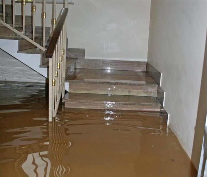 Image of a flooded home and a stair with the first steps with standing water.