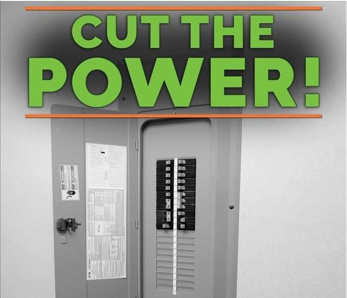 "Image of electricity panel with letters stating ""Cut the power"""