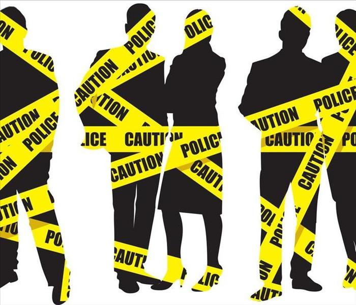"Image of silhouettes with yellow ""caution"" tape"