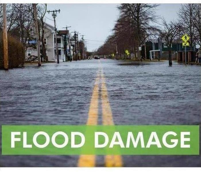 Flood damage in green letters with flooded street