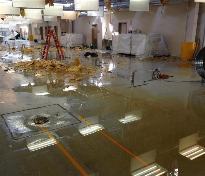 Floor in commercial building flooded with standing water along with other debris from ceiling that collapsed.