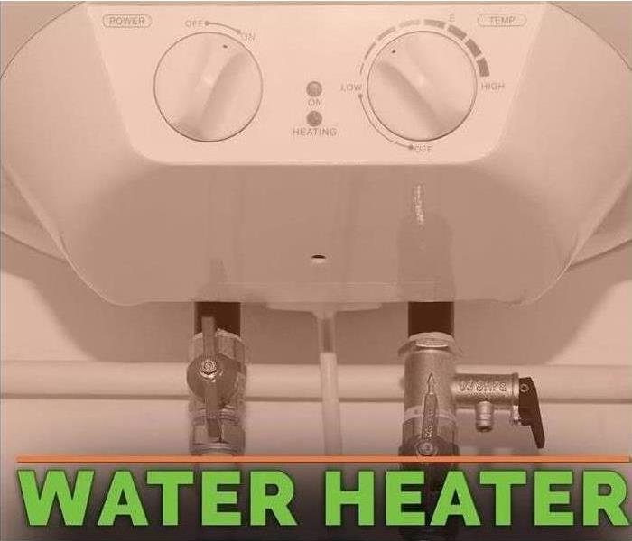 "Image of a water heater with green letters stating ""water heater"""